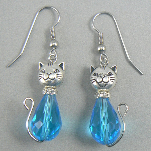 Aqua Cat Glass Drop Earrings