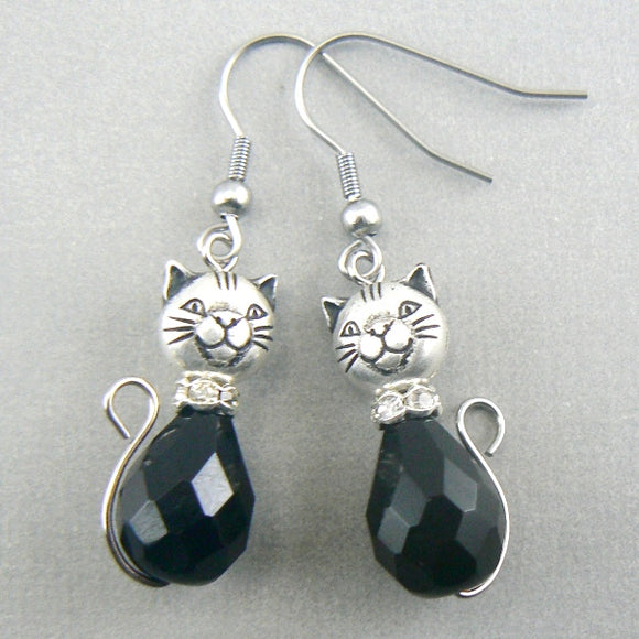 Black Cat Glass Drop Earrings