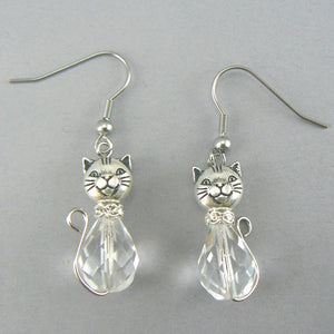 Crystal Cat Glass Drop Earrings