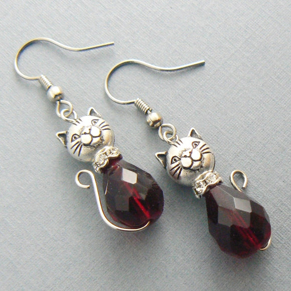 Garnet Cat Glass Drop Earrings