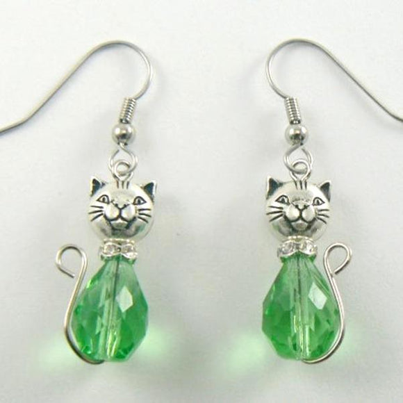 Green Cat Glass Drop Earrings