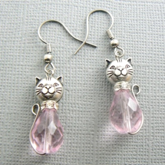 Pink Cat Glass Drop Earrings