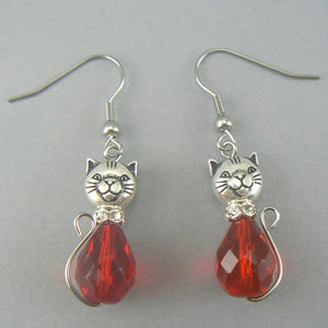 Red Cat Glass Drop Earrings