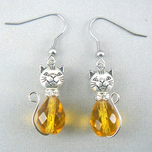 Topaz Cat Glass Drop Earrings
