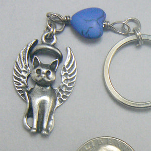 Cat Guardian Angel Pewter Keychain – Blue Heart