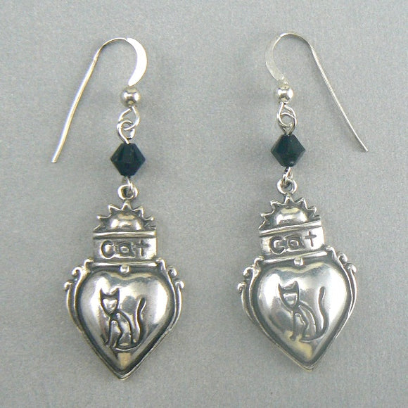 Cat in Heart Sterling Silver Earrings - Black