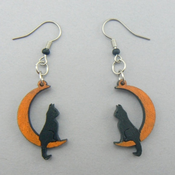 Cat on Moon Wood Halloween Earrings