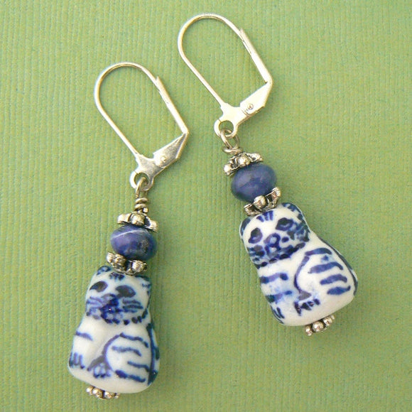 Cat Porcelain & Sodalite Earrings