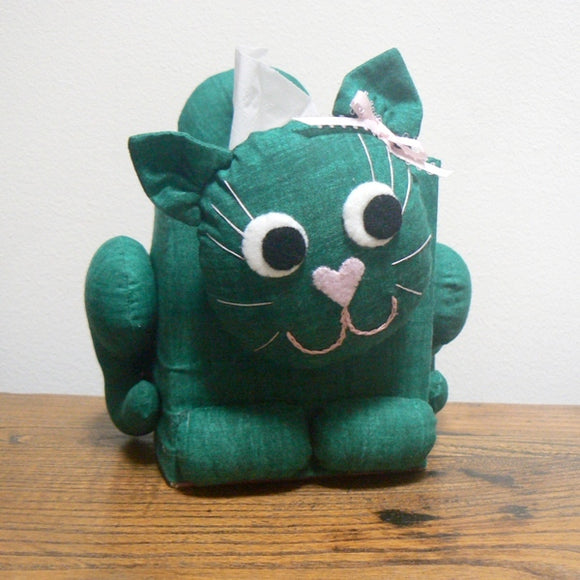 Cat Tissue Box Cover – Green