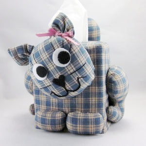 Cat Tissue Box Cover –  Dusty Blue Plaid