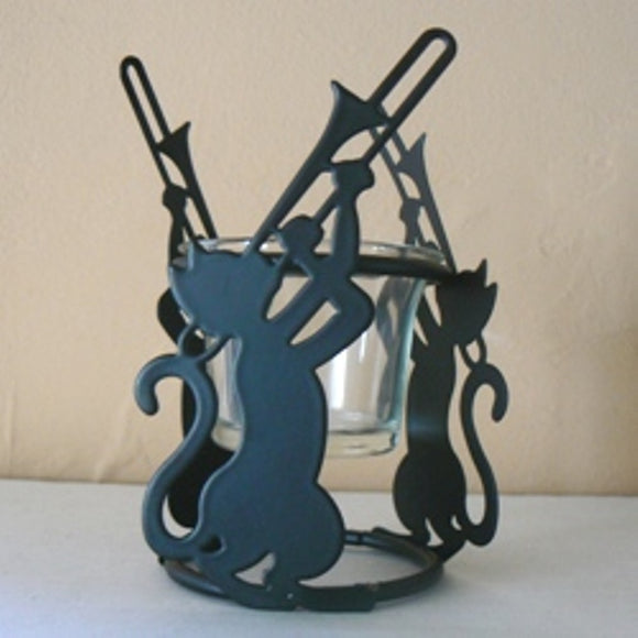 Cat & Trombone Metal Candle Holder