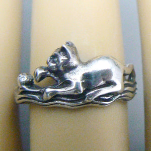 Cat with Ball Sterling Silver Ring