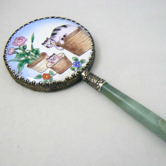 Cats in Baskets Enamel & Jade Hand Mirror