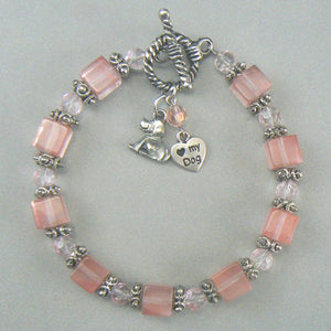 Cherry Quartz Bracelet with Dog Heart Charm