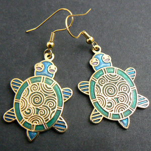 Cloisonne Turtle Enamel Earrings - Aqua & Green