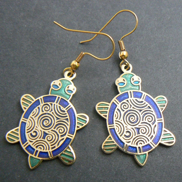 Cloisonne Turtle Enamel Earrings - Green & Blue