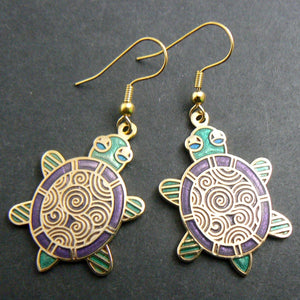 Cloisonne Turtle Enamel Earrings - Green & Purple