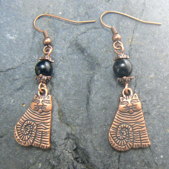 Copper Striped Cat & Black Jade Earrings