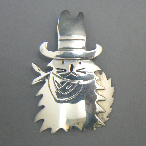 Cowboy Cat Sterling Silver Pin