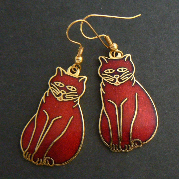 Cranberry Cloisonne Enamel Cat Earrings