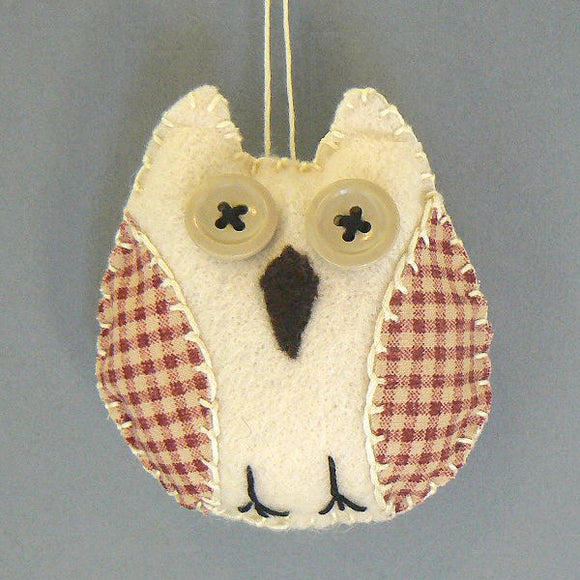 Cream Felt Owl Ornament