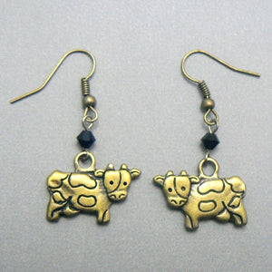 Dairy Cow Antique Brass Earrings