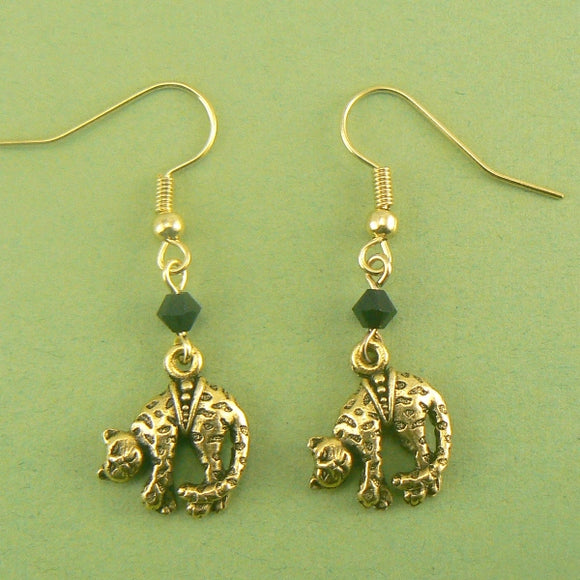 Dangling Jaguar Cat Gold Pewter Earrings