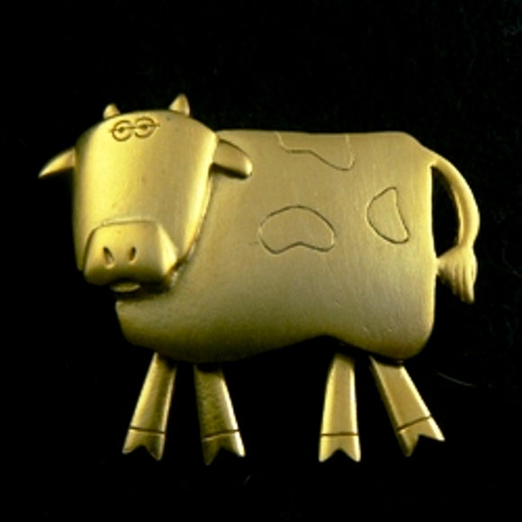 Dangling Legs Gold Cow Pin