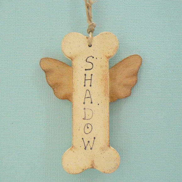 Dog Bone Angel Personalized Wood Ornament