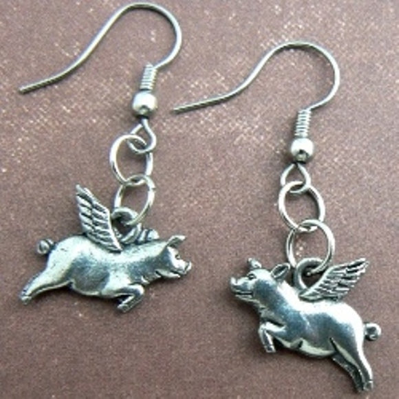 Flying Pigs Pewter Earrings