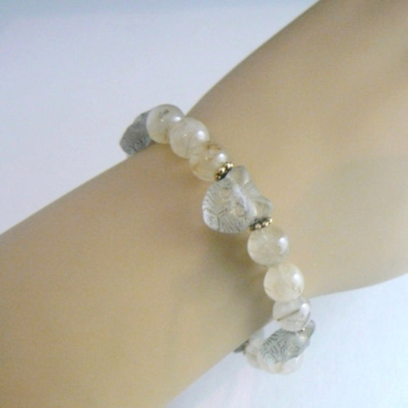 Glass Cat Head Bracelet with Moss Quartz_h