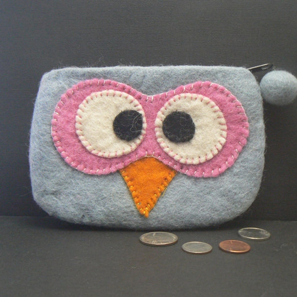 Gray Felt Owl Coin Purse