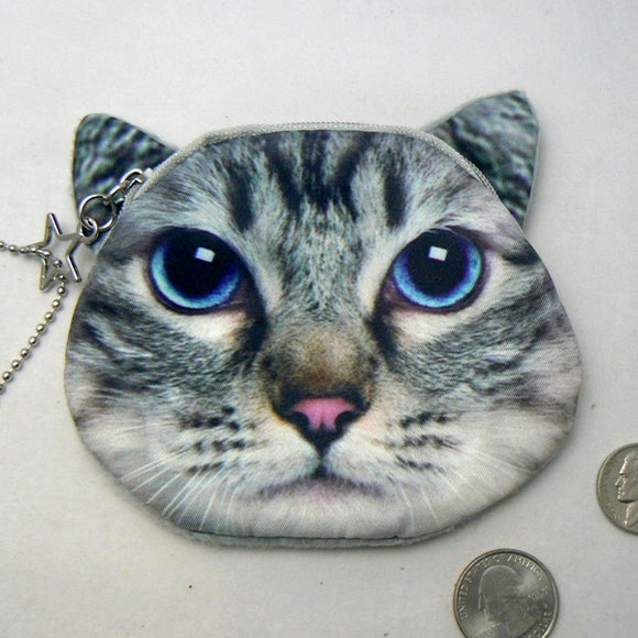 Gray Tabby Cat Face Coin Purse