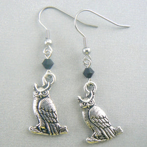 Great Horned Owl Pewter Earrings