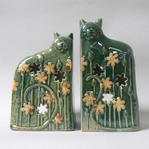 Green Ceramic Cats Candle Holders