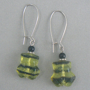 Green Czech Glass Frog Earrings