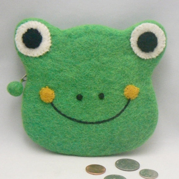 Green Frog Head Felt Coin Purse