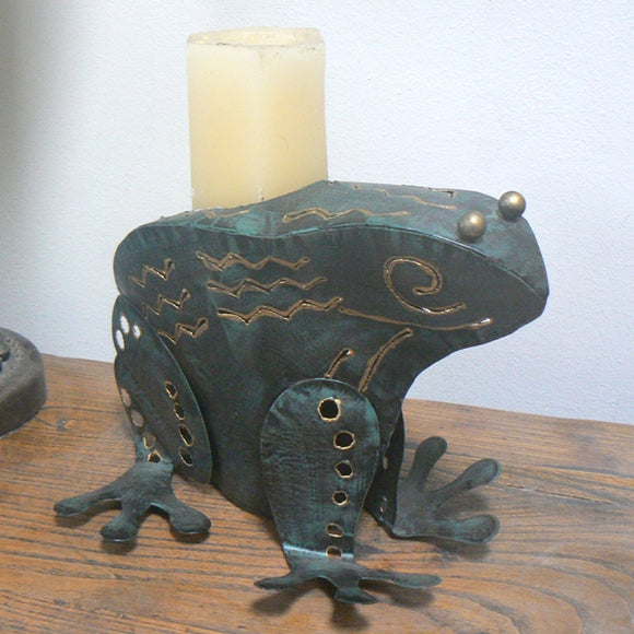 Green Metal Frog Candle Holder