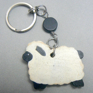 Hand Painted Wood Sheep Keychain