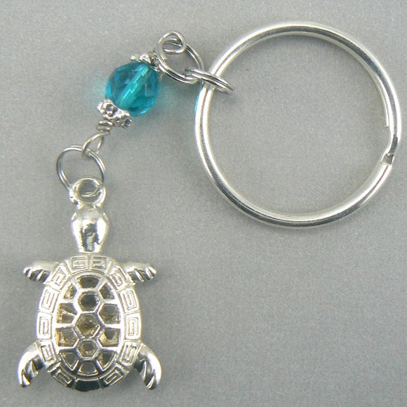 Hollow Silver Toned Turtle Keychain