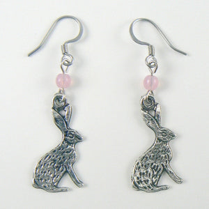 Jackrabbit Silvertone Rabbit Earrings