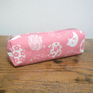 Kawaii Kitty Cat Faces Zippered Pencil Case - Pink