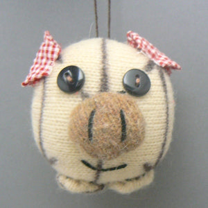Knit Pig Christmas Ornament