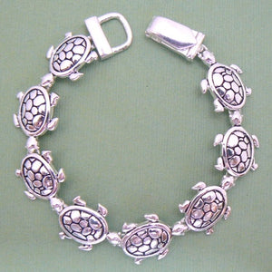 Land Turtles Magnetic Silver Toned Bracelet