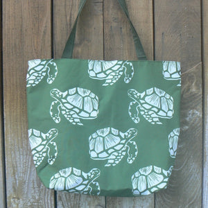 Large Nylon Green & White Sea Turtles Tote
