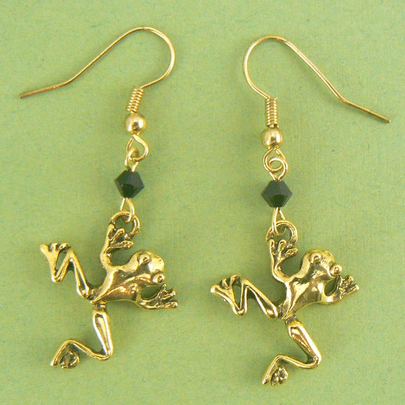 Leaping Frogs Gold Pewter Earrings