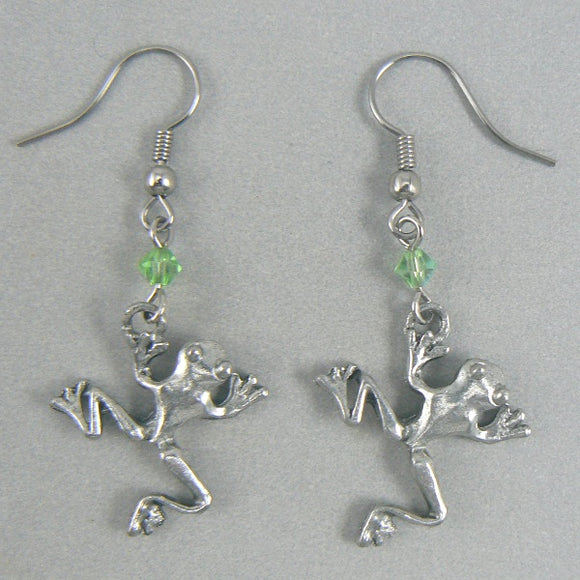 Leaping Frogs Silver Pewter Earrings