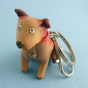 Leather Dog Spuds Keychain