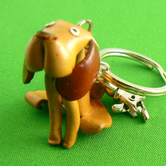 Leather Hound Dog Keychain