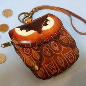 Leather Owl Wristlet Coin Purse